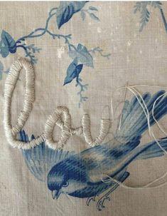 embroidery on vintage toile