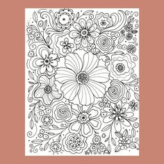 Flower Coloring Page, Abstract Flower Coloring Page, Floral Coloring Page, Adult Coloring Page by FourthAvePenandInk on Etsy