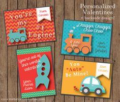 Boys Valentine's Day Cards  PRINTABLE  Trains by InvitationCeleb, $8.00