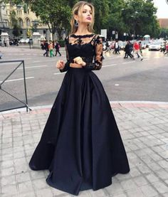 Black two pieces long sleeve prom dress,A-line lace two pieces long prom dress,grad dresses EVENING DRESSES