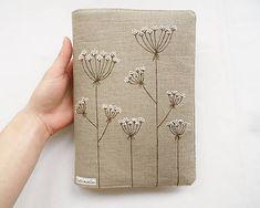 Obal na knihu - Kvitnúca tráva (natur 100% ľan) / Lesiavelin - SAShE.sk - Handmade Papiernictvo