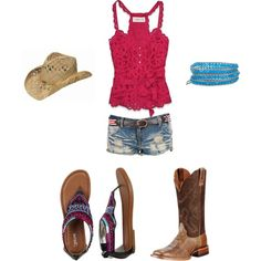 Country Summer, created by cchristiansen on Polyvore   Pretty sure I wouldnt wear the shorts, but auch a cute outfit.