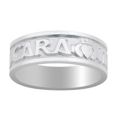 "Women's Mo Anam Cara-My Soul Mate Sterling Silver Women's Ring  Engraved in Gaelic and interspersed with claddaghs. From Ireland. Boxed. 1/4"" wide. Men's sizes 9-13.5; women's sizes 5-8.5.  Ladies, order yours today!  #IrishGifts #Irish #Ireland"