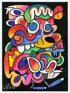 December 2015 works | Jon Burgerman Cool Art, Abstract Art, It Works, December, Doodles, Year 7, Animation, Graphic Design, Drawings