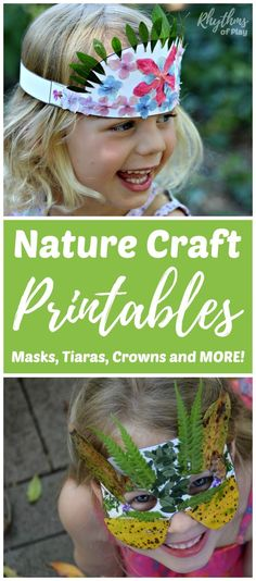 Nature Masks Tiaras Crowns and More! Kids will love how easy it is to create nature arts and crafts with these fun printables. Get outside, explore nature, engage the senses, and use the fine motor muscles to create wearable art. A hands-on learning punch