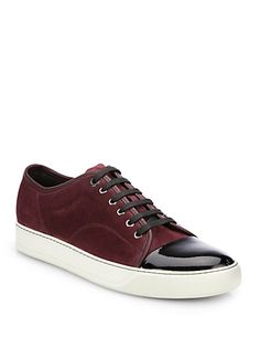 Lanvin's Patent Leather-Paneled Suede Sneakers are our pick for fall's most elevated sneaks!