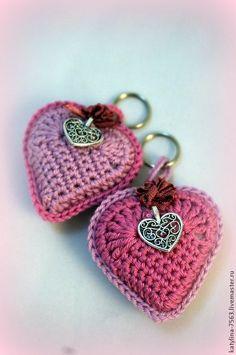 Купить Брелок Сердце - розовый, сердце, сердечко, сердечки, брелок, брелок для ключей, брелок на сумку Crochet Fruit, Crochet Ball, Love Crochet, Crochet Gifts, Crochet Flowers, Crochet Toys, Knit Crochet, Crochet Keychain Pattern, Crochet Teddy Bear Pattern