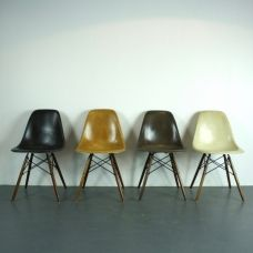 Eames Herman Miller DSW side chairs in dark ochre, black, parchment and brown - Lovely and Company