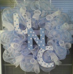 UNC Tarheels Deco Mesh Wreath by WreathsByTheSea on Etsy, $45.00