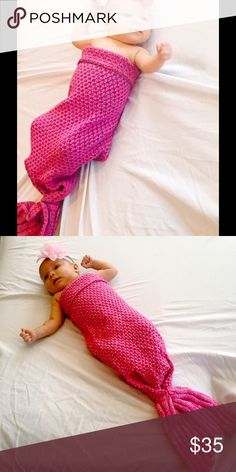 SALE! Baby Handmade Mermaid Tail Blanket Pink Brand new Hand Made Crocheted Baby Mermaid Tail. 19.5 inches by 35.5 inches. This wonderful color we call Cherry pink but it's a mix of hot pink, red and blues. Works for newborns to snuggle all the way to a small toddler. Also Available in rose pink, blue, green, purple, and fuchsia. Sidekicks Other