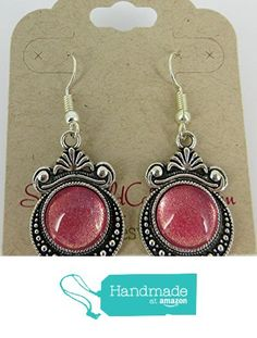 Antiqued Silver-Tone Pink Shimmer Glass Dangle Earrings from Summerfield Collection https://www.amazon.com/dp/B01LZ42S3Q/ref=hnd_sw_r_pi_dp_lHYhybRE08F57 #handmadeatamazon