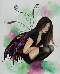 Wendy Kathleen Dark Faerie Fairy Print -- 11x14
