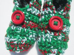 Christmas Morning Slippers in Red Green and by crochetedbycharlene, $21.00