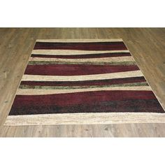 (Red) with Jute Backing Power loomed Floral Rug -