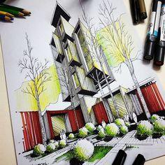 ابزار: ماژیک /مدادرنگی  #معماری #اسکیس #پرسپکتیو #آموزش_اسکیس #طراحی_معماری  #arquitetapage #Design#arch_cad  #drawing #concept#mimari#mimarlık #skis#Архитектура#freehand#resim#illustration#dessin #eskiz  #portraitdrawing  #instalikes #рисунок  #instalike  #zeichnung #sketchbook #gesture #drawingtutorial #process#m_ansari#artanddesign#