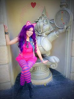 Charis Lincoln [as the Cheshire Cat - as a partial human female feat. the White Rabbit] (Cosplay by CharismaStarTV Clever Halloween Costumes, Cat Costumes, Disney Halloween, Costume Ideas, Halloween 2018, Halloween Stuff, Skeleton Costumes, Purple Halloween, Group Costumes