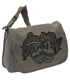 COMEDY TRAGEDY MASKS Bag -- Canvas messenger bag -- large field bag -- adjustable strap