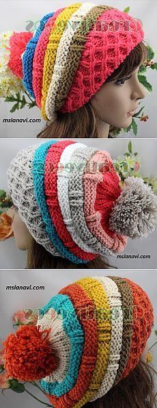 Вязаные шапки спицами для девушек | Вяжем с Лана Ви