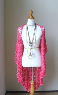 HOT PINK Crochet VEST Fit Any Size Boho Vest Long by marianavail,