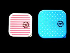 Products From Japan With Love: 2 Snack Size Bento Boxes 1 Tier Stripes Polka Dots...