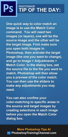 To color match an image use the Match Color command. !!!!!!!!