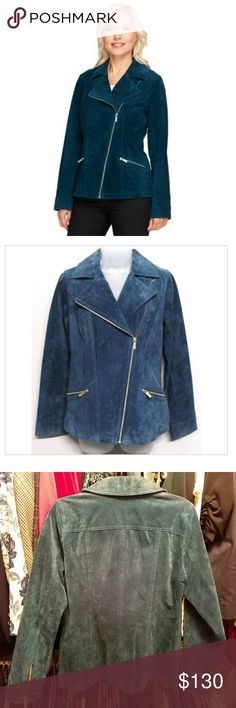 Gorgeous Dennis Basso teal Suede jacket So pretty! This jacket is in perfect condition. Pictured don't do it justice at all. Size small. Silver zipper detail. Color is teal. Real suede. Retail  $350. Nordstrom Jackets & Coats