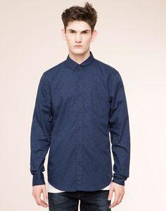 Pull&Bear - heren - hemden - overhemd met bloemenprint en lange mouw -  blauw - 09471561