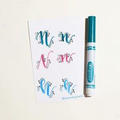 """Still photo from the previous video!  Day 14 of the @surelysimplechallenge #simplealphabets #simplealphabets_N  I will be showing you 3 versions of how I write an uppercase """"N"""" & lowercase """"n."""" I used Crayola markers & Crayola SuperTips! Stay tuned as I will be doing the entire alphabet for the month of June! I will be doing the letter """"s"""" for this month!  Please feel free to ask if you have any questions!  #lettersbyshells"""
