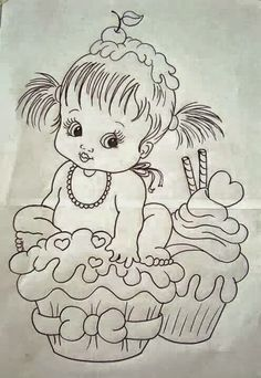Pencil Art Drawings, Art Drawings Sketches, Cute Drawings, Baby Embroidery, Vintage Embroidery, Embroidery Patterns, Baby Girl Quilts, Girls Quilts, Baby Coloring Pages