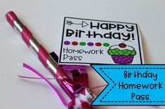 Happy birthday homework pass for students and other birthday gift ideas and printable tags! Great for teachers to give to students! I want to have these all prepped for back to school season. Happy Birthday Tag, Birthday Tags, Teacher Organization, Teacher Hacks, Student Gifts, Teacher Gifts, Presents For Students, Coach Presents, Homework Pass