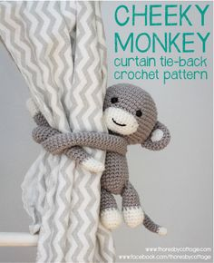 Monkey curtain tie back pattern by Thoresby Cottage.