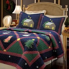Bring the holiday spirit to your bedroom with the Christmas Night quilt set. Made from 100-percent cotton, this quilt set features a country Christmas design that will surely turn your room into a magical holiday wonderland.
