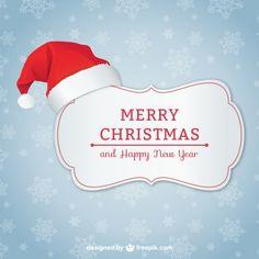 Cartolina di Natale elegante con il cappello della Santa Vettore gratuito