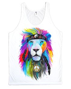 """Introducing our New """"Hippie Lion"""" Tank-Top! Life changing hand drawn art from Germany by the infamous Svencha! Insta: :) This High-Def Print design is made with high-quality, spun pol Hippie Peace, Hippie Life, Hippie Style, Electro Threads, Lion Design, Print Design, Boho Headband, Trippy, Peace And Love"""