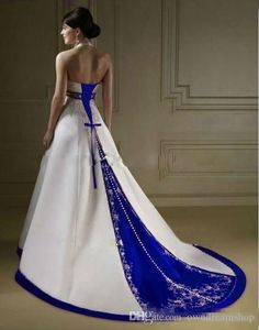 416641ea8c Discount Vintage Court Train White And Royal Blue A Line Wedding Dresses  Halter Neck Open Back Lace Up Custom Made Embroidery Bridal Gowns 2017  Wedding ...