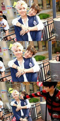 Jungkook kinda looks like he is kissblocking Jimin lol