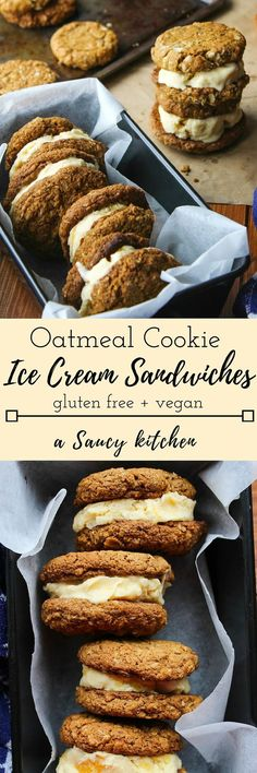 Gluten free & vegan oatmeal cookies - soft, chewy, and perfect for turning into ice cream cookie sandwiches.