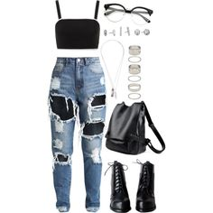 Untitled #1381 by asoul4 on Polyvore featuring moda, Topshop, Forever 21, Kendra Scott, Werkstatt:München and rippedjeans
