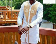 White with Gold Embroidery African Men's Outfit, African Clothing,Ankara Long Sleeve Shirt Top and Bottom for Men African Dresses Men, African Shirts, African Men Fashion, African Outfits, African Wedding Attire, African Attire, African Wear, African Style, African Beauty