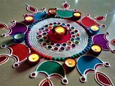 Very Attractive Diya Rangoli For Deepawali Festival Rangoli Designs Latest, Simple Rangoli Designs Images, Rangoli Designs Flower, Rangoli Border Designs, Small Rangoli Design, Rangoli Patterns, Border Embroidery Designs, Colorful Rangoli Designs, Rangoli Ideas