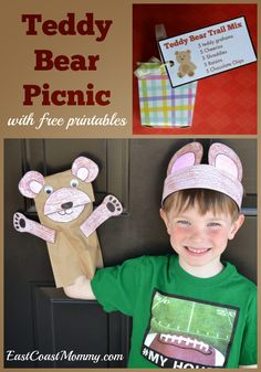 Number Crafts {Number FIVE}... Teddy Bear Picnic... with free printables. TOO CUTE!