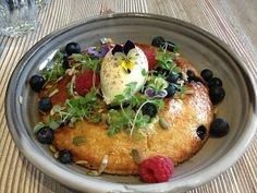 Ricotta hotcake with blueberries, organic maple, seeds, and organic mascarpone at Top Paddock. #organic #breakfast
