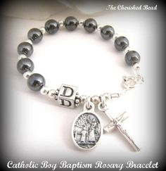 Catholic Boy Gemstone & Sterling Silver Baptism Rosary Bracelet with Guardian Angel and Cross on Etsy, $25.00