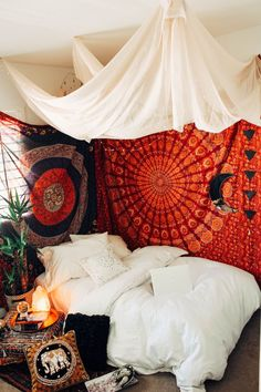 Root Chakra Bedroom❤️ Design by ☽ ✩ Bohemian Boho . - Root Chakra Bedroom❤️ Design by ☽ ✩ Bohemian Boho … Bedroom Red, Woman Bedroom, Trendy Bedroom, Cozy Bedroom, Bedroom Curtains, Hippy Bedroom, Boho Curtains, Bedroom Wall, Bohemian Bedroom Design