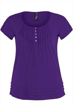 Purple T-shirt with pintuck detail and round neck