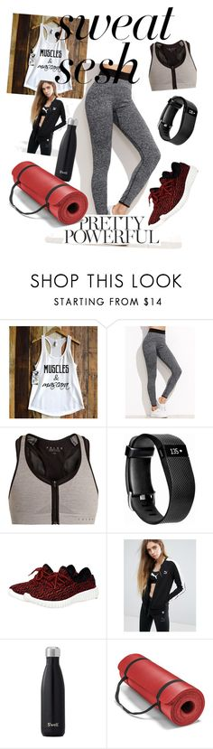 """Sweat sesh and Pretty powerful exercise outfit"" by oliviae-hettman ❤ liked on Polyvore featuring Falke, Fitbit and Puma"