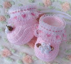 Boutique Crochet Heirloom Booties with Heart Trim, Kneat Heaven Boutique