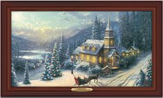 """This is the canvas print by """"Painter of Light"""", Thomas Kinkade, embedded with fiber optic lights that highlight a holiday evening sleigh ride. On its own, the print exquisitely depicts worshippers arriving at a hillside church in a horse-drawn sleigh … Readmore"""