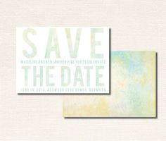 Save The Date Water Color Beach Inspired by seahorsebendpress, $183.37