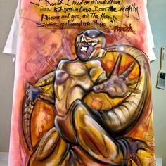 Airbrush t-shirt Dragon Ball Z Golden Lord frieZa #airbrush #art #killeen #texasartist #diegodiablo #mindlesspaint #forthood #painting #airbrushart #painter #love #airbrushing #austinartist #painter #comicart #villian #frieza #dbz #goldenfrieza #friezason Airbrush Shirts, Airbrush Art, Guitar Painting, Air Brush Painting, Lord Frieza, Paint Shirts, Custom Airbrushing, Graffiti Designs